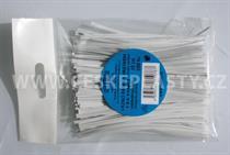 Vázací pásek s drátkem TECHNO bílý dělený v sáčku 10 cm/ 100 ks