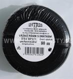 Vázací pásek s drátkem TECHNO černý v kotouči 80 m