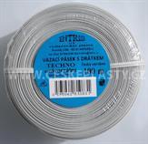 Vázací pásek s drátkem TECHNO bílý v kotouči 100 m
