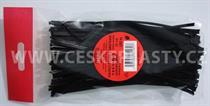 Vázací pásek s drátkem TECHNO černý dělený v sáčku 15 cm/ 100 ks