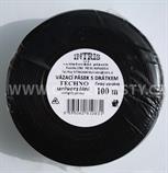 Vázací pásek s drátkem TECHNO černý v kotouči 100 m