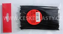 Vázací pásek s drátkem TECHNO černý dělený v sáčku 12,5 cm/ 100 ks