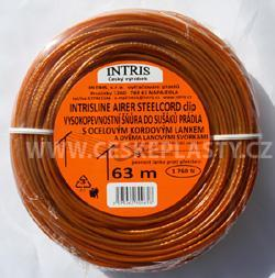 Vysokopevnostní šňůra do sušáku s ocelovým lankem a lanovými svorkami INTRISLINE STEELCORD STANDARD CLIP 63 m