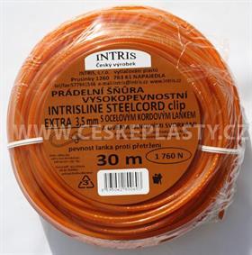 Šňůra na prádlo 3,5 mm s ocelovým lankem a lanovými svorkami INTRISLINE STEELCORD EXTRA CLIP 30 m