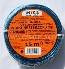 Vysokopevnostní šňůra na prádlo s ocelovým lankem a lanovými svorkami INTRISLINE STEELCORD STANDARD CLIP 15 m