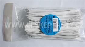 Vázací pásek s drátkem TECHNO bílý dělený v sáčku 12,5 cm/500 ks