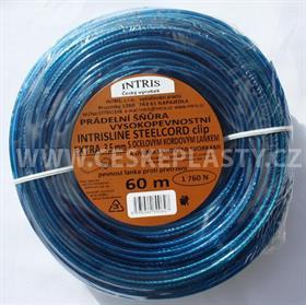 Šňůra na prádlo 3,5 mm s ocelovým lankem a lanovými svorkami INTRISLINE STEELCORD EXTRA CLIP 60 m