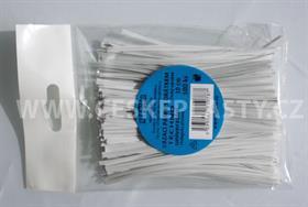 Vázací pásek s drátkem TECHNO bílý dělený v sáčku 10 cm/100 ks