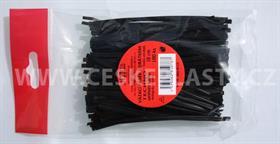 Vázací pásek s drátkem TECHNO černý dělený v sáčku 10 cm/100 ks
