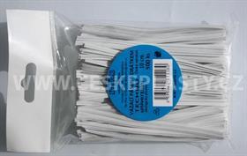 Vázací pásek s drátkem TECHNO bílý dělený v sáčku 10 cm/500 ks