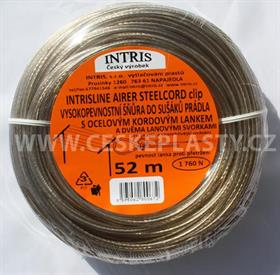 Vysokopevnostní šňůra do sušáku s ocelovým lankem a lanovými svorkami INTRISLINE STEELCORD STANDARD CLIP 52 m