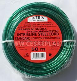 Značková vysokopevnostní šńůra na prádlo s ocelovým lankem INTRISLINE STEELCORD STANDARD 50 m