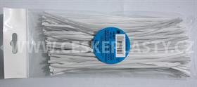 Vázací pásek s drátkem TECHNO bílý dělený v sáčku 20 cm/100 ks