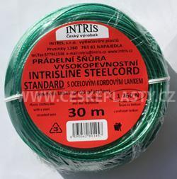 Značková vysokopevnostní šńůra na prádlo s ocelovým lankem INTRISLINE STEELCORD STANDARD 30 m