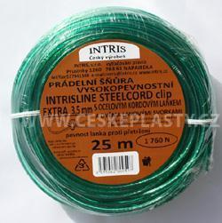 Šňůra na prádlo 3,5 mm s ocelovým lankem a lanovými svorkami INTRISLINE STEELCORD EXTRA CLIP 25 m