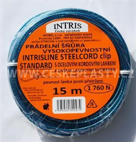Prádelní šňůra s ocelovým lankem a lanovými svorkami INTRISLINE STEELCORD STANDARD CLIP 15 m