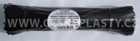 Vázací pásek s drátkem TECHNO černý dělený ve svazku 20 cm / 500 ks