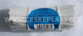 Vázací pásek s drátkem TECHNO bílý dělený ve svazku 10 cm / 500 ks