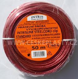 Vysokopevnostní šňůra na prádlo s ocelovým lankem a lanovými svorkami INTRISLINE STEELCORD STANDARD CLIP 50 m