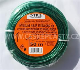 Vysokopevnostní šňůra do sušáku s ocelovým lankem a lanovými svorkami INTRISLINE STEELCORD STANDARD CLIP 50 m