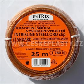 Vysokopevnostní šňůra na prádlo s ocelovým lankem a lanovými svorkami INTRISLINE STEELCORD STANDARD CLIP 25 m