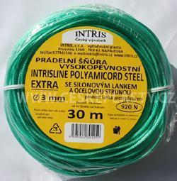 Vysokopevnostní prádelní šňůra se silonovým kordovým lankem a ocelovou strunou 3 mm EXTRA STEEL 30 m