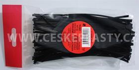 Vázací pásek s drátkem TECHNO černý dělený v sáčku 15 cm/100 ks