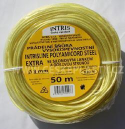 Vysokopevnostní prádelní šňůra se silonovým kordovým lankem a ocelovou strunou 3 mm EXTRA STEEL 50 m