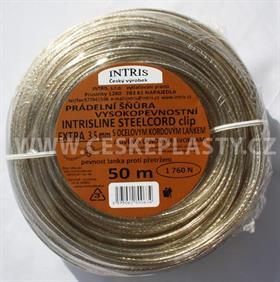 Šňůra na prádlo 3,5 mm s ocelovým lankem a lanovými svorkami INTRISLINE STEELCORD EXTRA CLIP 50 m