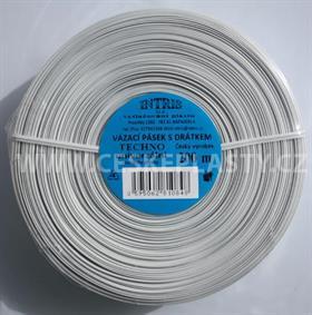 Vázací pásek s drátkem TECHNO bílý v kotouči 200 m