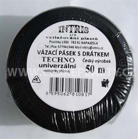 Vázací pásek s drátkem TECHNO černý v kotouči 50 m