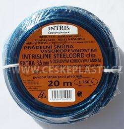 Šňůra na prádlo 3,5 mm s ocelovým lankem a lanovými svorkami INTRISLINE STEELCORD EXTRA CLIP 20 m