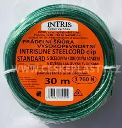 Vysokopevnostní šňůra na prádlo s ocelovým lankem a lanovými svorkami INTRISLINE STEELCORD STANDARD CLIP 30 m