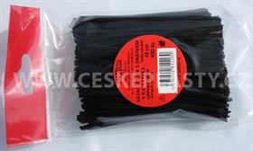 Vázací pásek s drátkem TECHNO černý dělený v sáčku 10 cm/500 ks