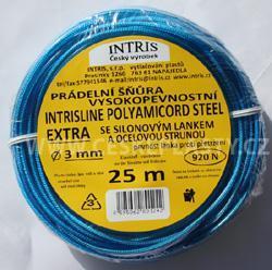 Vysokopevnostní prádelní šňůra se silonovým kordovým lankem a ocelovou strunou 3 mm EXTRA STEEL 25 m