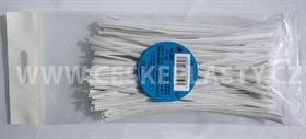 Vázací pásek s drátkem TECHNO bílý dělený v sáčku 15 cm/100 ks