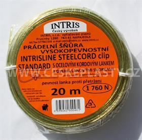 Vysokopevnostní šňůra na prádlo s ocelovým lankem a lanovými svorkami INTRISLINE STEELCORD STANDARD CLIP 20 m