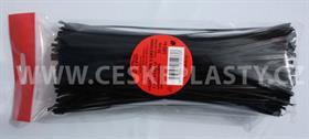 Vázací pásek s drátkem TECHNO černý dělený v sáčku 20 cm/100 ks