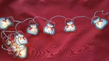 10 LED řetěz sněhuláci barevní