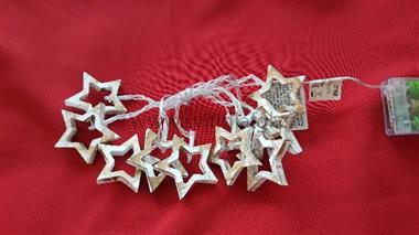 10 LED řetěz hvězdičky bílozlaté-s časovačem