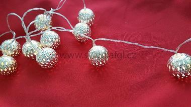 10 LED řetěz koule stříbrné
